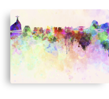 Rio de Janeiro skyline in watercolor background Canvas Print