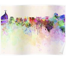 Rio de Janeiro skyline in watercolor background Poster