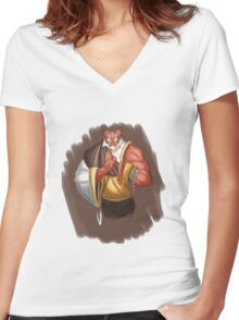 Miscela the Tiefling Monk Women's Fitted V-Neck T-Shirt