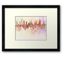 Barcelona skyline in watercolour background  Framed Print