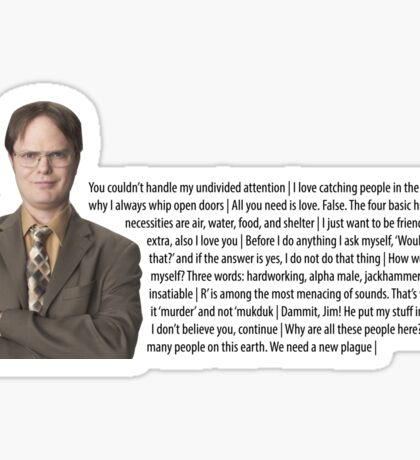 The Office - Dwight Quotes Sticker
