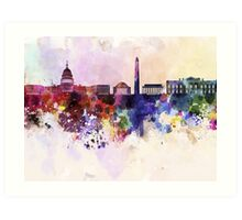 Washington DC skyline in watercolor background  Art Print
