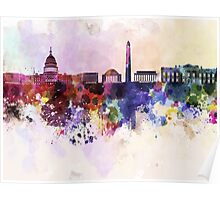 Washington DC skyline in watercolor background  Poster