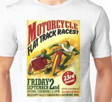 """MOTORCYCLE FLAT TRACK"" Vintage Racing Print Unisex T-Shirt"