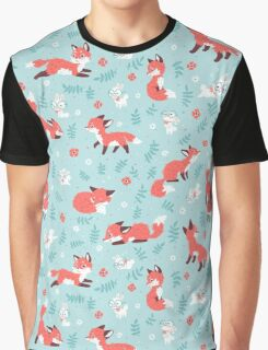 Fox and Bunny Pattern Graphic T-Shirt