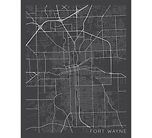 Fort Wayne Map, USA - Gray Photographic Print