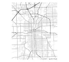 Fort Wayne Map, USA - Black and White Photographic Print