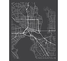Indianapolis Map, USA - Gray Photographic Print