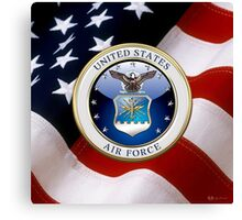 U.S. Air Force - USAF Emblem 3D over Flag Canvas Print