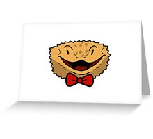 Bowtie Beared Dragon Face Greeting Card