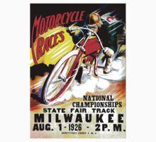"""MOTORCYCLE RACES"" Vintage State Fair Racing Print One Piece - Short Sleeve"