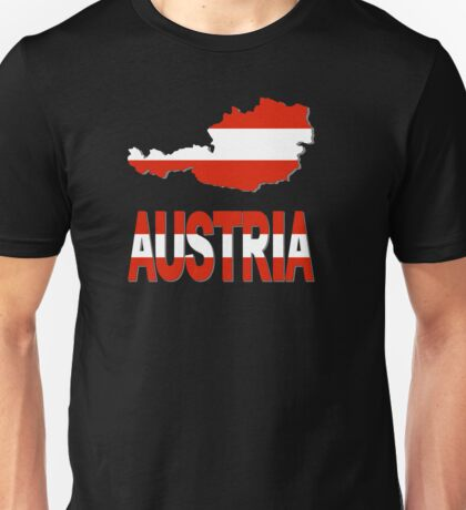 Austria Flag In Austria Map Unisex T-Shirt