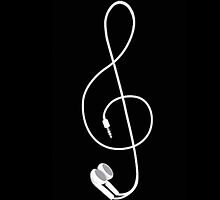 Earbud Treble Clef by rbx11