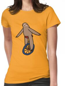 Unicycle Sloth Womens Fitted T-Shirt