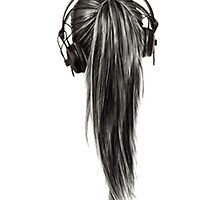 Ponytail Headphones Pencil Drawing by rbx11