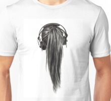 Ponytail Headphones Pencil Drawing Unisex T-Shirt