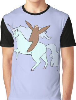 Sloth Riding a Unicorn Graphic T-Shirt