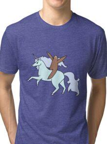 Sloth Riding a Unicorn Tri-blend T-Shirt