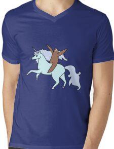Sloth Riding a Unicorn Mens V-Neck T-Shirt
