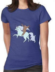 Sloth Riding a Unicorn Womens Fitted T-Shirt
