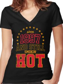 Born in 1997 and Still Smokin' HOT Women's Fitted V-Neck T-Shirt
