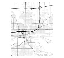 Des Moines Map, USA - Black and White Photographic Print