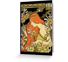 Nouveau Woman Among the Lilies Greeting Card