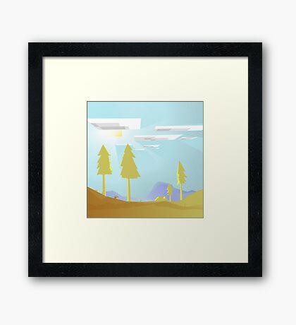 Minecraft Landscape Framed Print