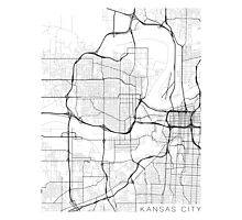 Kansas City Map, USA - Black and White Photographic Print