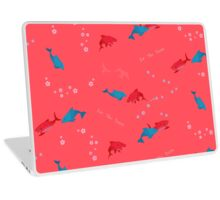 Pink Shark and Dolphin Laptop Skin