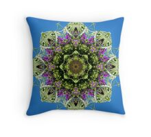 Floral kaleidoscope with blue sky Throw Pillow