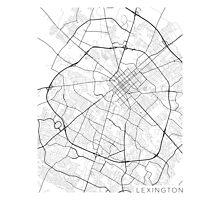 Lexington Map, USA - Black and White Photographic Print