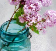 Lilacs in a Green Glass Jar Sticker