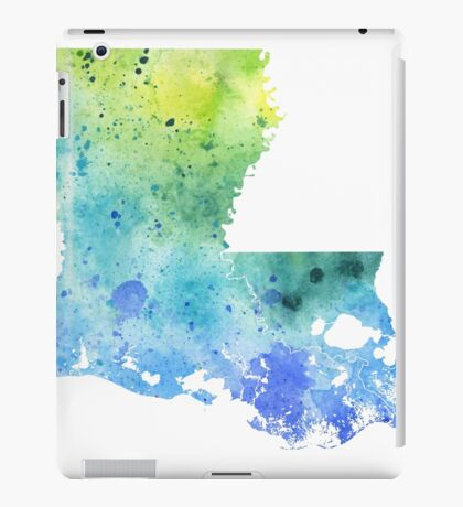 Watercolor Map of Louisiana, USA in Blue and Green iPad Case/Skin