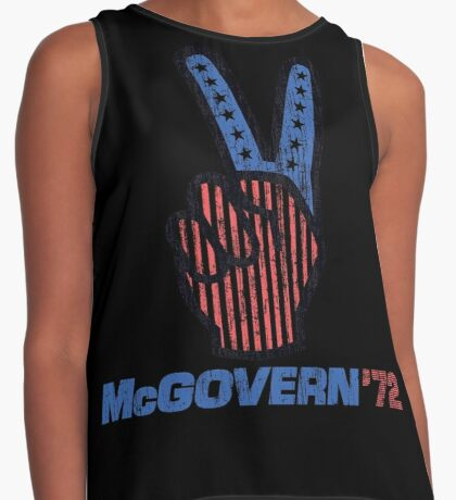 George McGovern Hand Peace Sign 1972 Presidential Campaign Contrast Tank