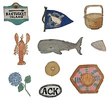 Vintage Nantucket Island Collection Hand-painted Watercolor Photographic Print