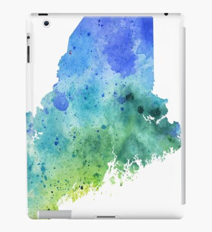 Watercolor Map of Maine, USA in Blue and Green  iPad Case/Skin