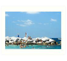 Swimming At Capri : Bay of Naples, Italy Art Print