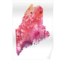 Watercolor Map of Maine, USA in Orange, Red and Purple - Giclee Print of my Own Painting Poster