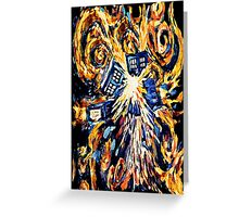 Big Bang Attack Exploded Flamed Phone booth painting Greeting Card