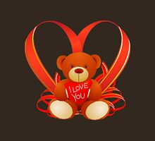Romantic and True Love Cute Teddy Holding a Red Heart Saying ''I LOVE YOU'' Unisex T-Shirt