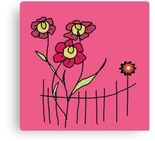 Flower behind the fence Canvas Print