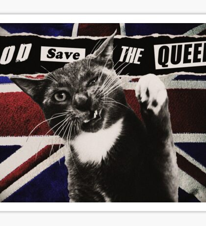 God Save The Queen Cat Sticker