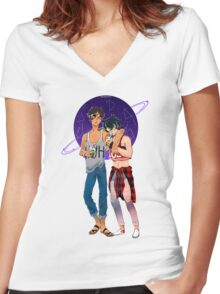 KLANCE - BUBBLE TEA IN SPACE Women's Fitted V-Neck T-Shirt