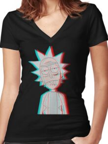 3D Rick Women's Fitted V-Neck T-Shirt