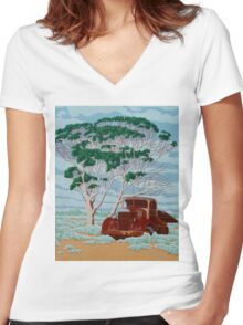Betty's Last Stop Women's Fitted V-Neck T-Shirt