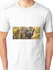 Black currawong resting on a tree branch Unisex T-Shirt