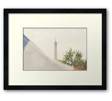 Eiffel Tower behind the French Flag Framed Print