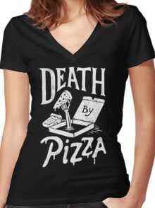 Death By Pizza Women's Fitted V-Neck T-Shirt