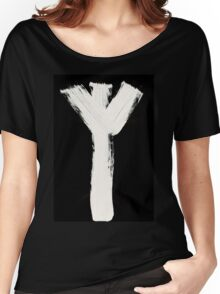Runes - Elder Futhark - 0015 - Algiz - Inverted Women's Relaxed Fit T-Shirt